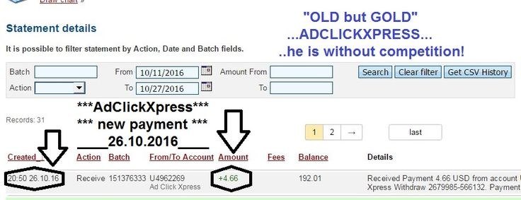 Here is my Withdrawal Proof from AdClickXpress. I get paid daily and I can withdraw daily. Online income is possible with ACX, who is definitely paying - no scam here.  Join now: http://www.adclickxpress.is/?r=goki_mkd  Date: 26.10.2016 (20:50h) To Pay Processor Account: U5301307 Amount: 4.66 Currency: USD Batch: 151376333 Memo: API Payment. Ad Click Xpress Withdraw 2679985-566132  THE BEST ONLINE BUSINESS IN THE WORLD...(ACX)!!! Join now: http://www.adclickxpress.is/?r=goki_mkd