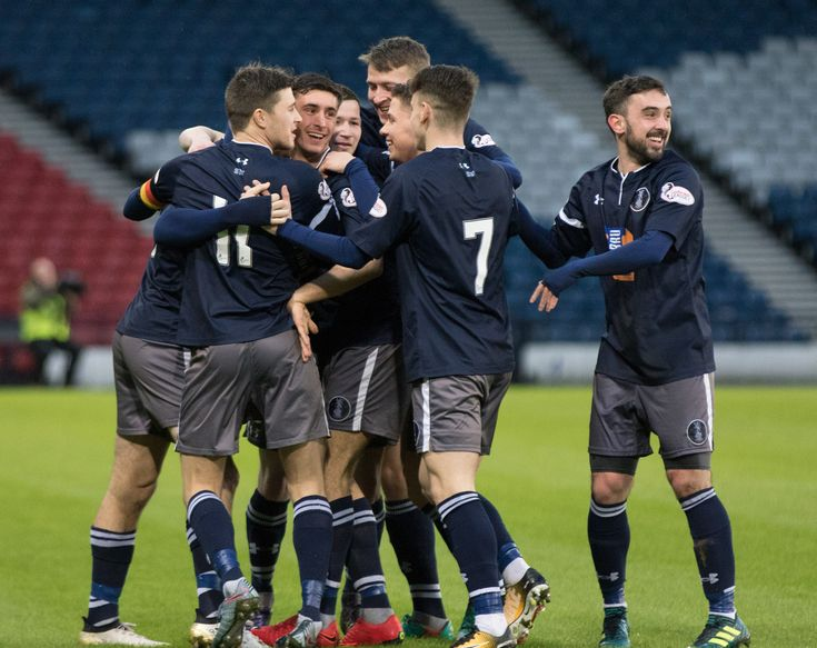 Queen's Park players celebrate Jack Iredale's goal during the SPFL League One game between Queen's Park and Albion Rovers