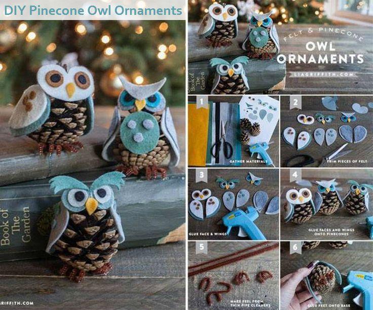 myquotesme: DIY Pinecone Owl Ornaments Follow Us on Tumblr OR Like Us on Facebook #diy #pinecone owl ornaments #松ぼっくり #フクロウ #フェルト #手芸かわゆす(〃∇〃)松ぼっくりをこんなところで使えるとは...工夫すればヤシマットも手芸で使えるかも...