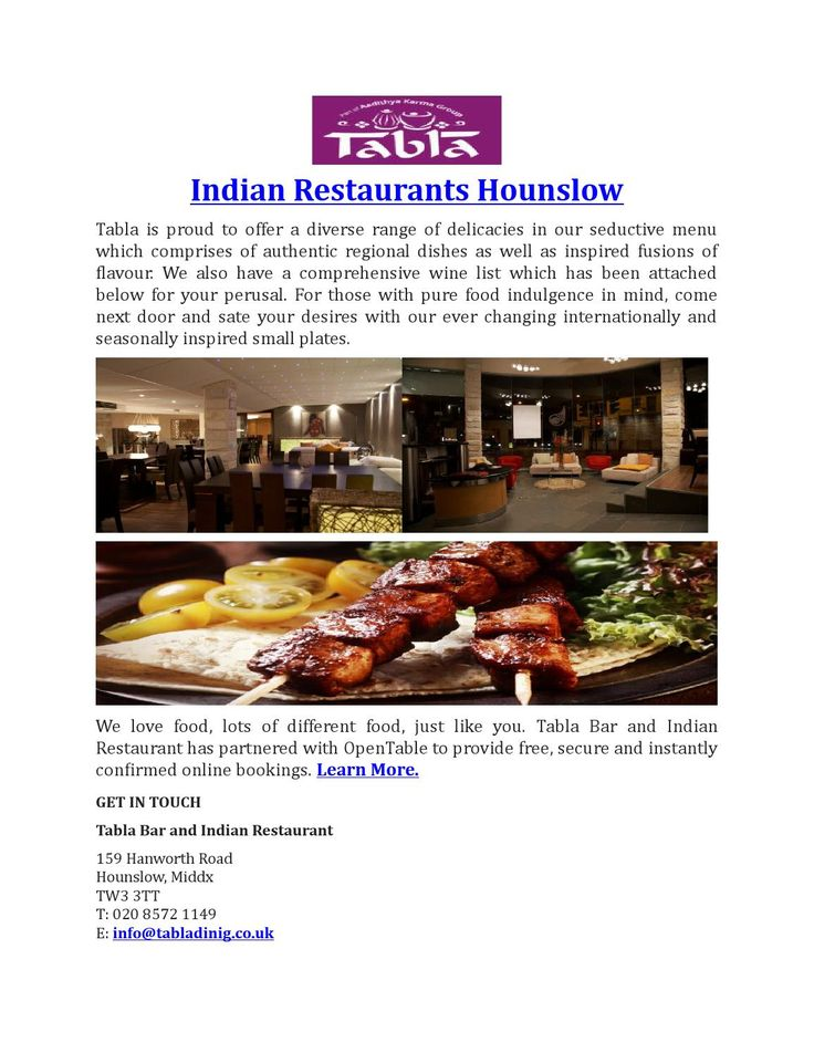 Indian Restaurants Hounslow - Tabla Restaurant offers diverse range of delicacies, authentic regional dishes and inspired fusions of flavour call 020 8572 1149