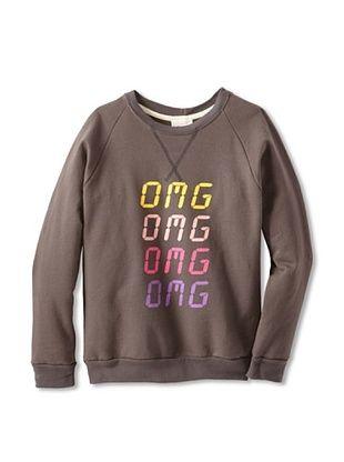 91% OFF Sweet Bazaar Girl's OMG Sweatshirt with Trim (Charcoal)