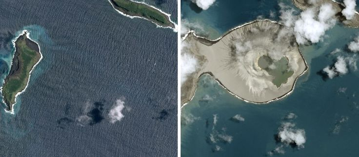 The new island began forming off the coast of Tonga last month and experts believe it will disappear back into the ocean within months. These are the first pictures of a newly-formed volcanic island in the Pacific Ocean. The new island began forming off the coast of Tonga last month, with experts believing a volcano exploded underwater before expanding into the island.