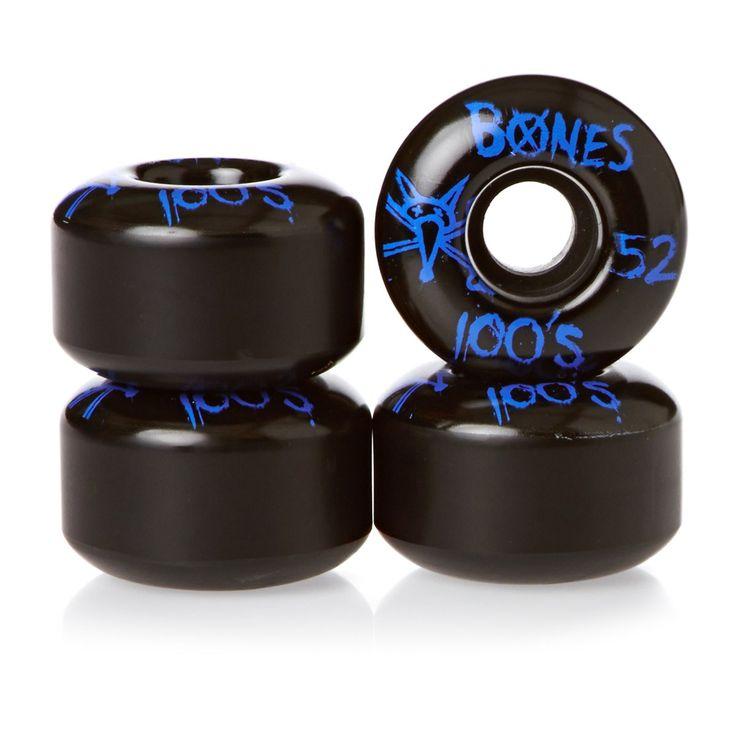 Bones Skateboard Wheels - Bones OG 100's V4 Black Skateboard Wheels - 52mm