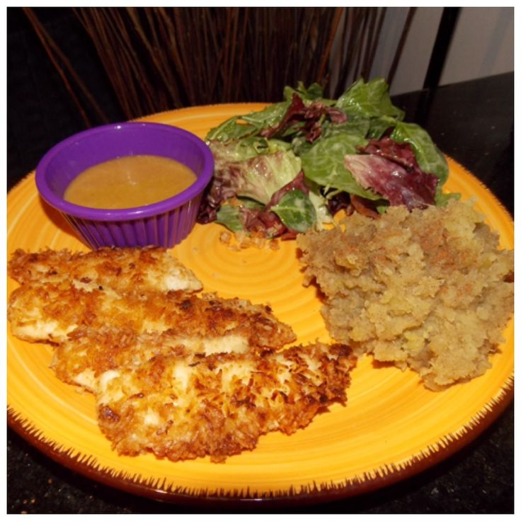Coconut Crusted Chicken Fingers with Honey Mustard Sauce and a side of ...