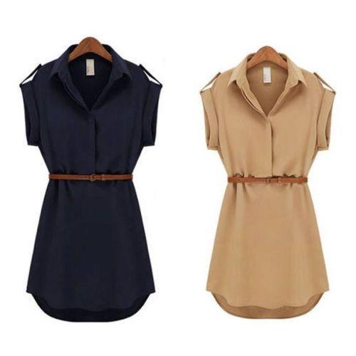 Nuevo-Para-Mujer-De-Gasa-Casual-Cap-Sleeve-Mini-Verano-Sexy-Camisa-De-Vestir
