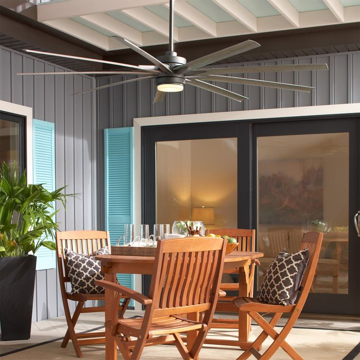 The Odyn Outdoor Ceiling Fan has an impressive 84 inch blade sweep, perfect for large patios and large open concept spaces. http://www.ylighting.com/blog/ceiling-fans-size/