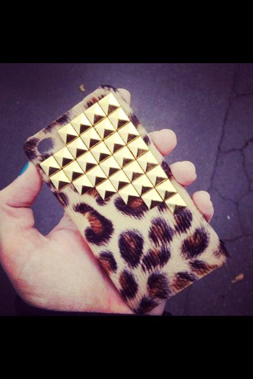 Trendy Studded Leopard iPhone Case for Fashion Girls