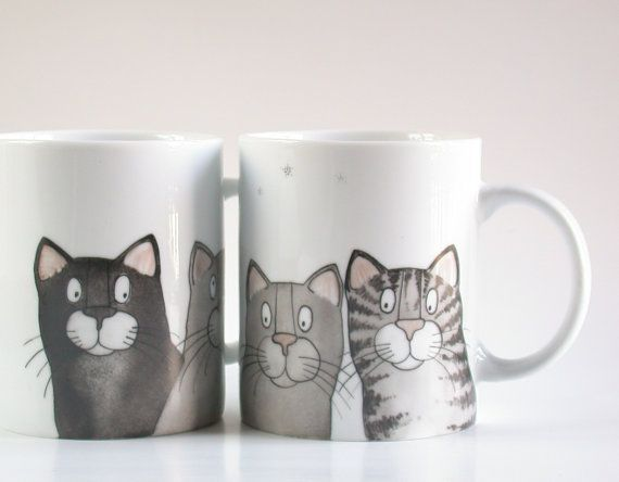handpainted gray cats mug,  black cats coffee cup, tabby cat tea cup on Etsy, $36.81