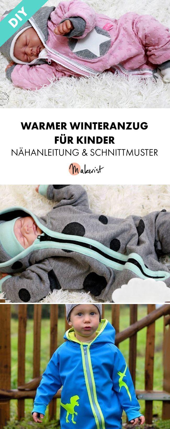 Winteranzug mit Kapuze für Babys und Kleinkinder - Nähanleitung und Schnittmuster via Makerist.de