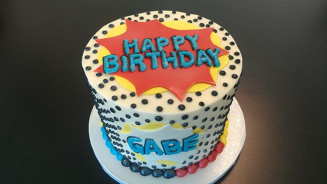 Comic Book Birthday Cake by Retro Bakery in Las Vegas,
