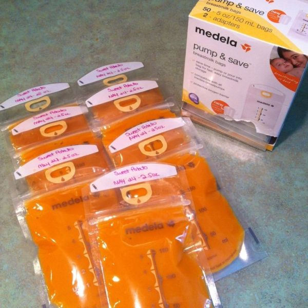freeze home-made baby food in breastmilk storage bags. No freezer burn, takes up minimal space and easy to thaw! Brilliant!!!! by caitlin