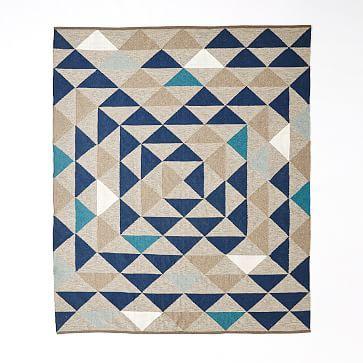 Framed Triangles Wool Kilim Rug