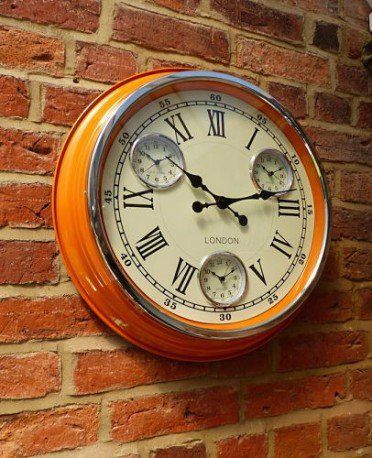 Orange retro wall clock in 1950s style cafe design feel the quirky 50s in your home cool vibrant colour station clock, its will surely brighten your day