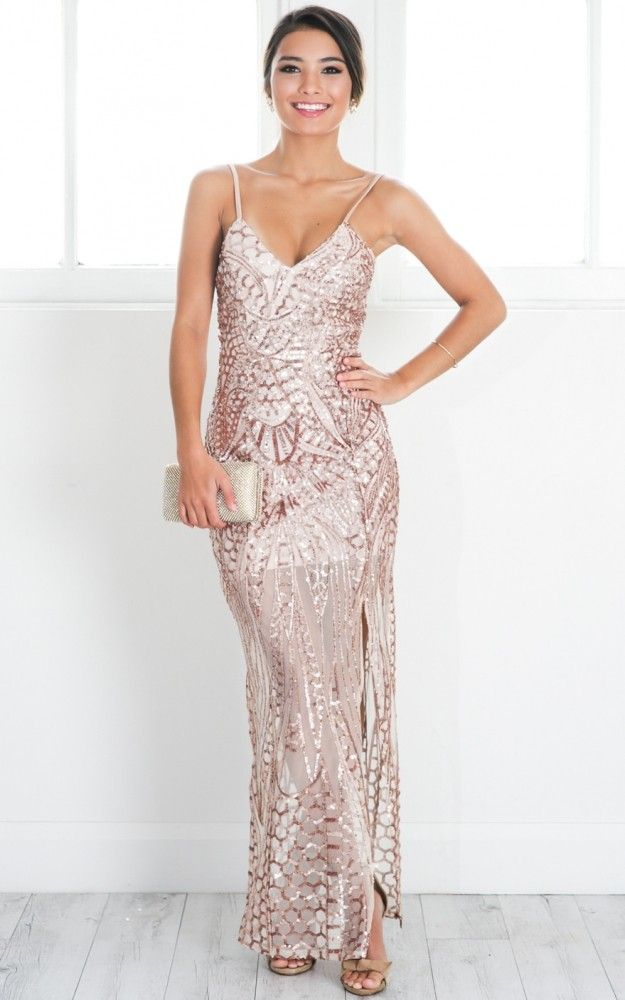 Rose Gold Sequin Strappy Maxi Dress
