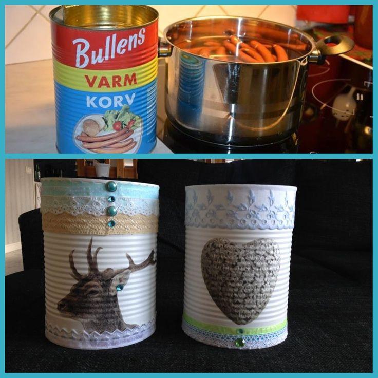 Bullens plåtburkar fick nytt utseende med lite spets och färg. Snyggt! Från: Facebook / grupp Återbruka mera!