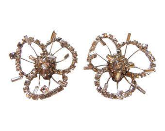 MARVELLA strass fiore Orecchini Vintage 1950 strass orecchini orecchini da sposa fiore orecchini