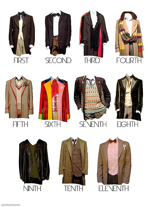 Doctor Who. I wonder what 12 will wear ... (This repinner wonders the same thing ...)