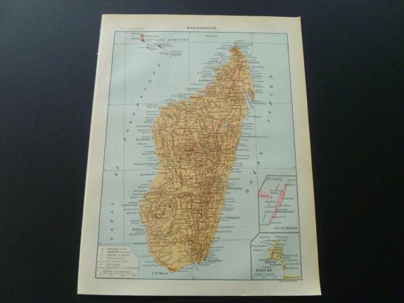 Antique French map of Madagascar  old print by DecorativePrints