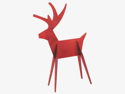 ALPS RED Wood Large wooden reindeer decorative object - Dress your home- HabitatUK