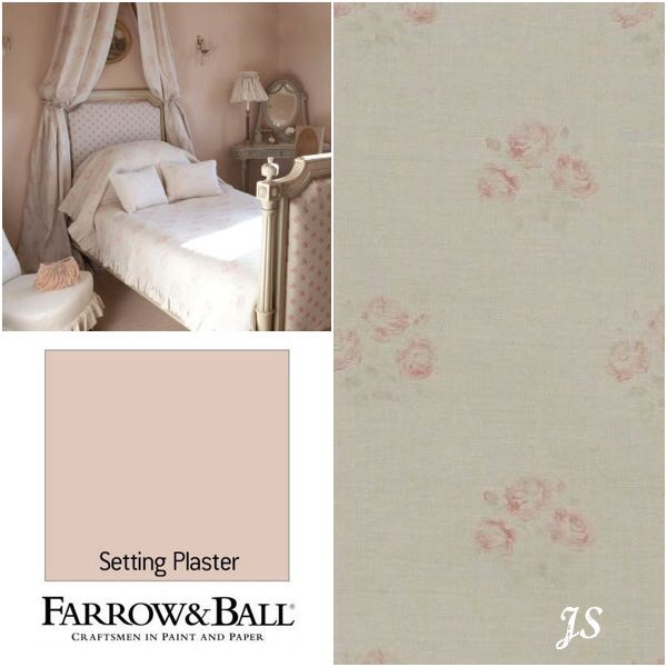 Kate Forman Inspiration by Joanne Sandford - Paint: Setting Plaster (Farrow & Ball) Curtain Fabric, Bed Linen: Kitty