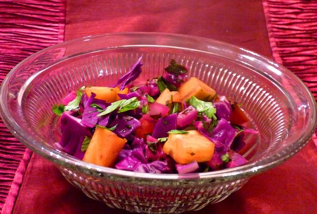 Cabbage and Persimmon Salad with Sweet and Sour Dressing