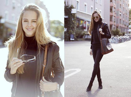 Louis Vuitton Noe Bag, Zara Suede Ankle Boots, Diesel Leather Jacket, Wonderland Sunglasses, Witt Weiden Turtleneck