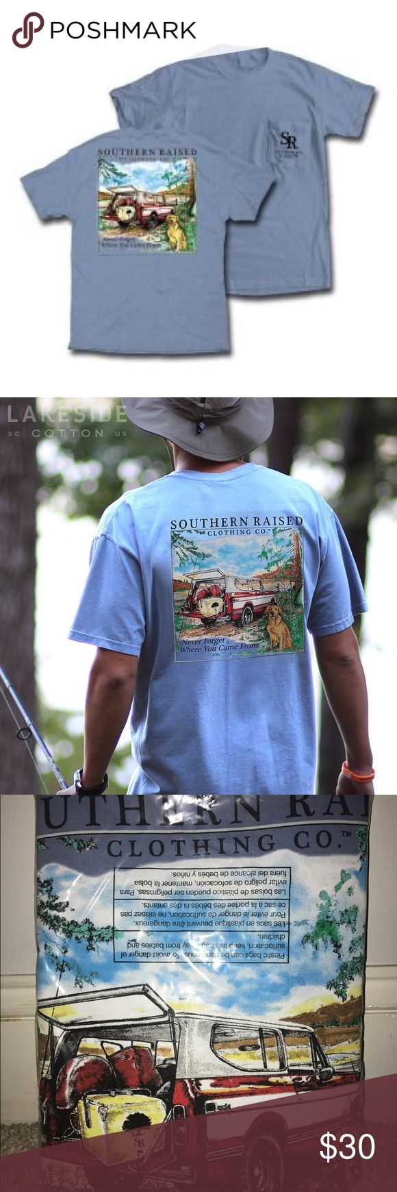 """Southern Raised Scout Truck Tee on Comfort Colors New with tags! Never opened!                                            -XL                                                                                         -worn for both women and men                                                    """"Southern Raised Scout Truck"""" in Washed Denim on a Comfort Colors short sleeve T-shirt - 100% Pre-Shrunk Cotton gets softer with every wash and has a front pocket. Simply Southern Tops Tees - Short…"""