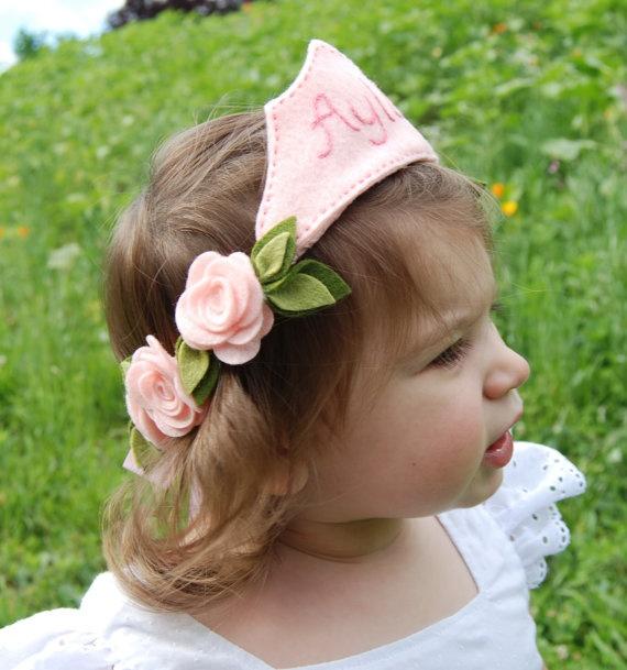 Personalized Princess Flower Crown Headband - Felt Flowers - Pink Roses.
