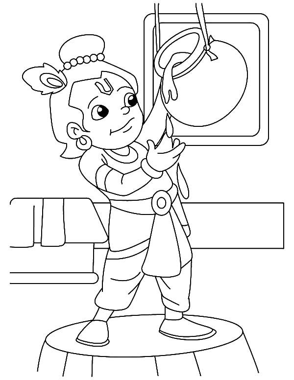 Krishna, : Krishna is Butter Lover Coloring Pages in 2019