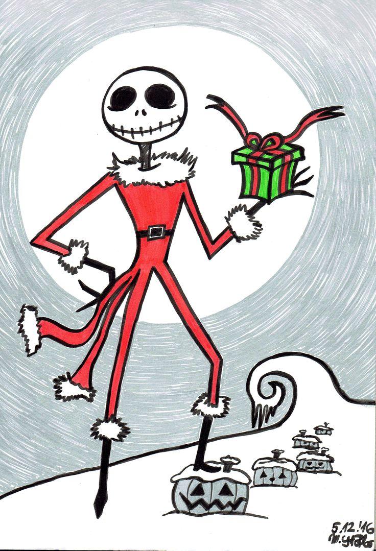 IG: @maggie_creates_ santa jack skellington the nightmare before christmas marker drawing