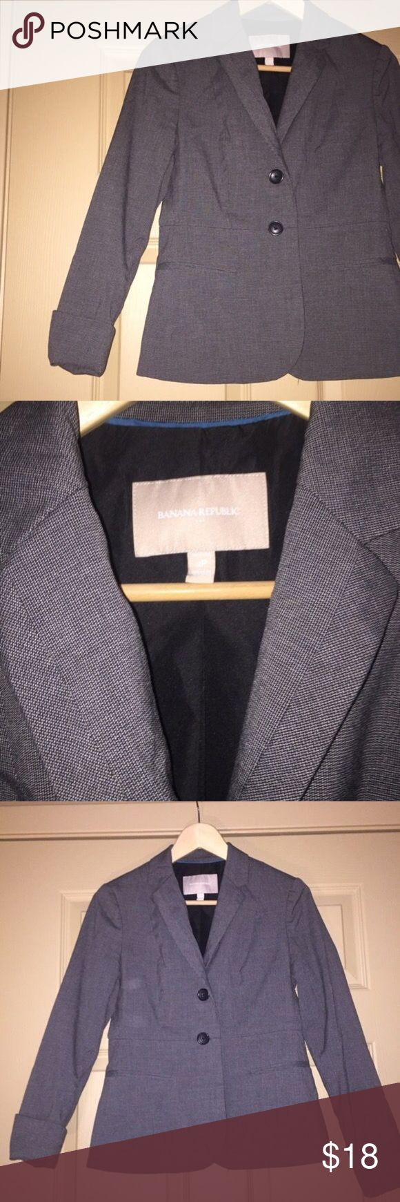 Banana Republic Gray Suit Jacket Size 2 petite Grayish black suit jacket by Banana Republic. Has decorative cuff for rolling. Banana Republic Jackets & Coats Blazers