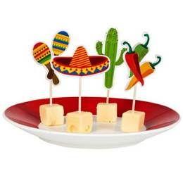 Een zakje met 12 cocktailprikkers in Mexicaanse stijl. themafeesten mexicaans