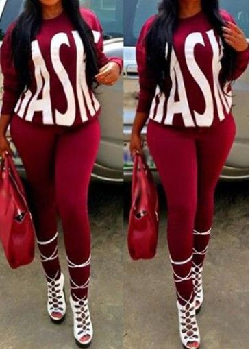 Long Sleeve Letter Pattern Top and Pants