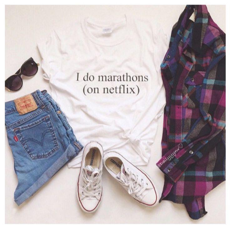 Fashion I Do Marathons On Netflix Women T Shirts Casual Cotton Short Sleeve Tops Tees T shirt Letters printing Clothing