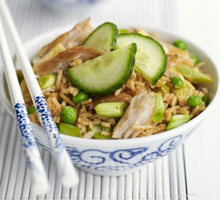 Indonesian fried rice with mackerel Ingredients: olive oil, eggs, red curry paste, caster sugar, basmati rice, spring onions, peas, soy sauce, mackerel fillets,