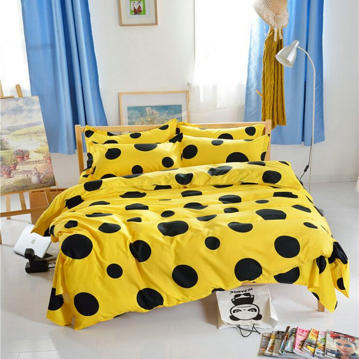 Black dots Yellow Bedding set 3/4pcs floral printing duvet cover set bed linen sheet new cartoon kids quilt cover gift-in Bedding Sets from Home & Garden on Aliexpress.com | Alibaba Group