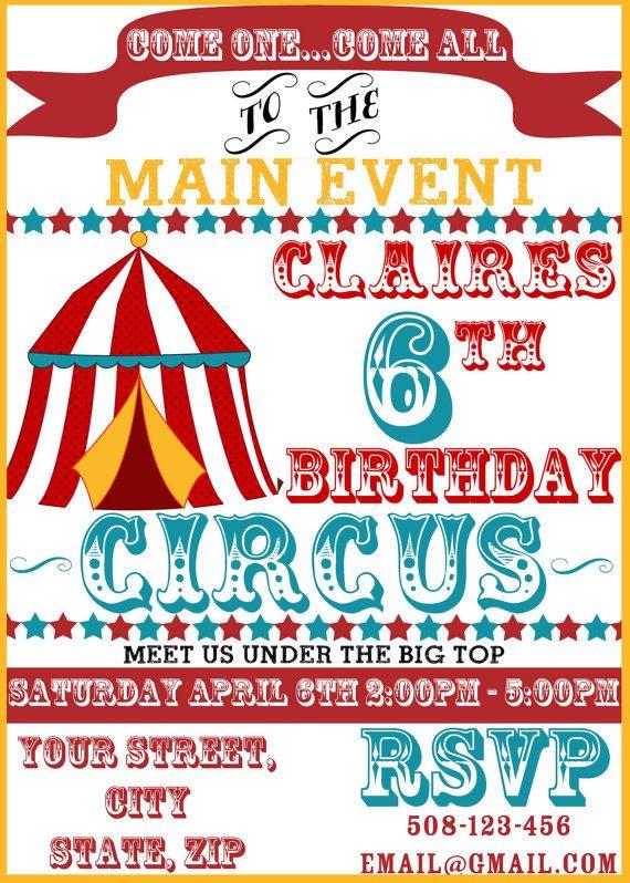 Circus or Carnival Theme Custom DIGITAL by SandInMyShoesDesigns, $10.00