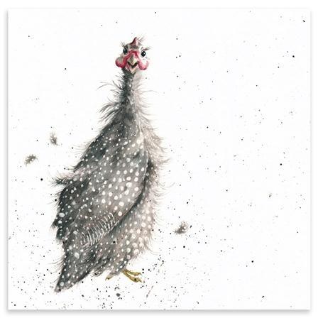 ACHICA   Hannah Dale - Guinea Fowl, Mounted Art Print, 42 x 42 cm