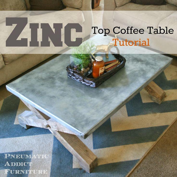 Zinc Top Coffee Table Tutorial:  Pottery Barn Knock-Off via Pneumatic Addict