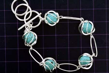 925 Sterling Silver Bracelet w/ Enclosed Turquoise Gems (Order)