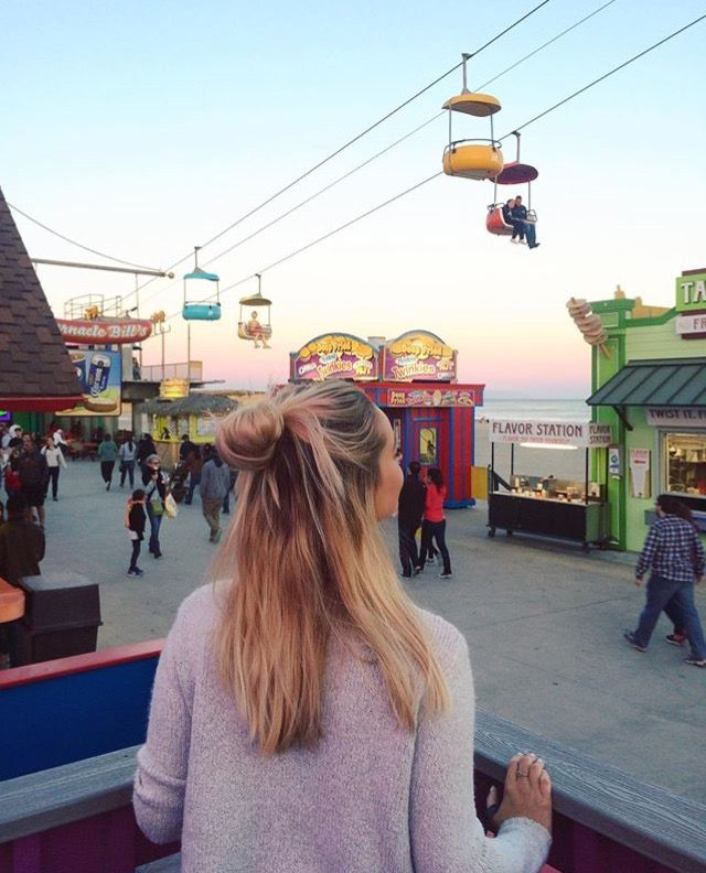 messy bun, amusement park, amusement park outfit, brandy melville, summer, summer nights, sunset