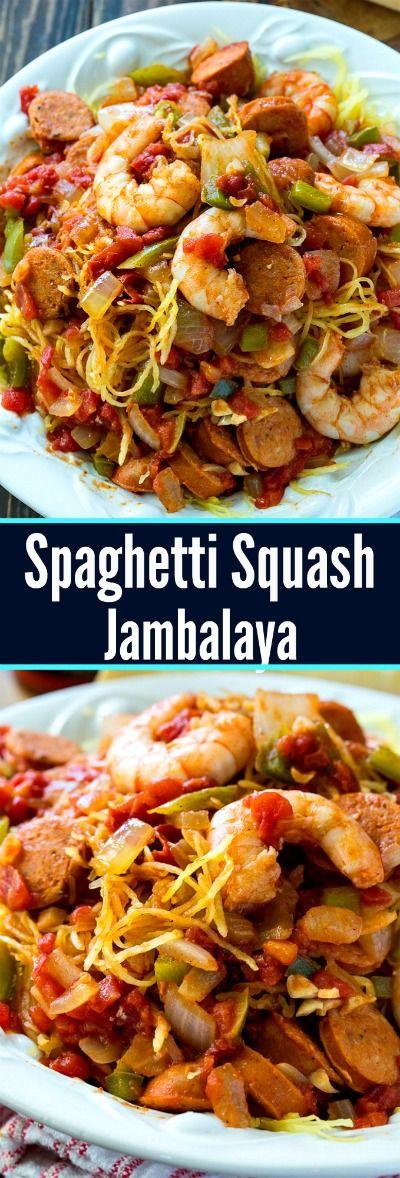 Spaghetti Squash Jambalaya is a low carb, healthy way to enjoy jambalaya #lowcarbrecipe  #jambalaya #healthyrecipes #MardiGras