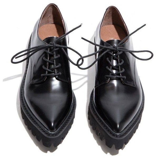 Jeffrey Campbell Seymour Black Oxford Shoes (€130) ❤ liked on Polyvore featuring shoes, oxfords, flats, обувь, oxford shoes, wingtip oxford shoes, flat shoes, platform flats and black flats