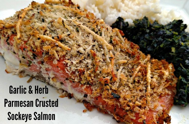 Garlic & Herb Parmesan Crusted Sockeye Salmon is a healthy and delicious meal you can prepare for your family in only 15 minutes!