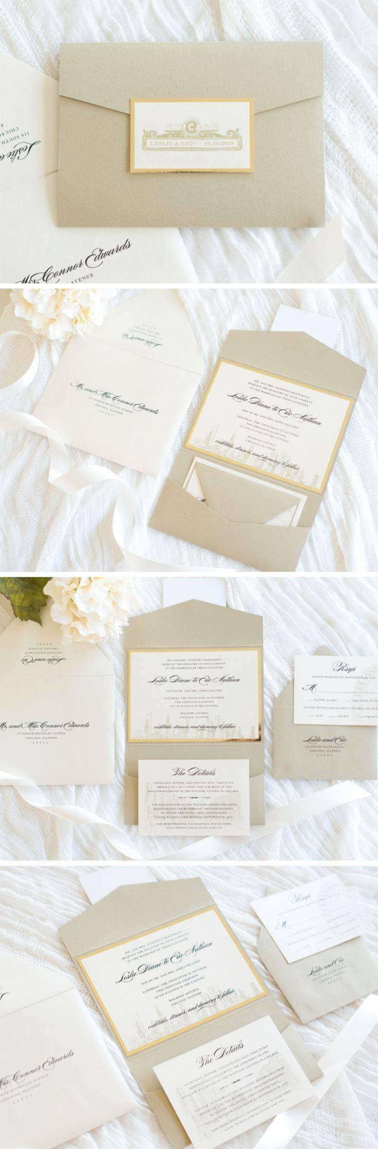 elegant u0026 formal chicago skyline wedding invitation