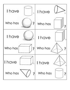 This fun center game is a great way to review solid shapes, and makes a super warm-up to any 3D shape center you do!  Print and laminate the cards, then pass out to your group (up to 6 players).  Any left over cards can be read by you!  The first student reads his/her card, and play continues as the next students responds.