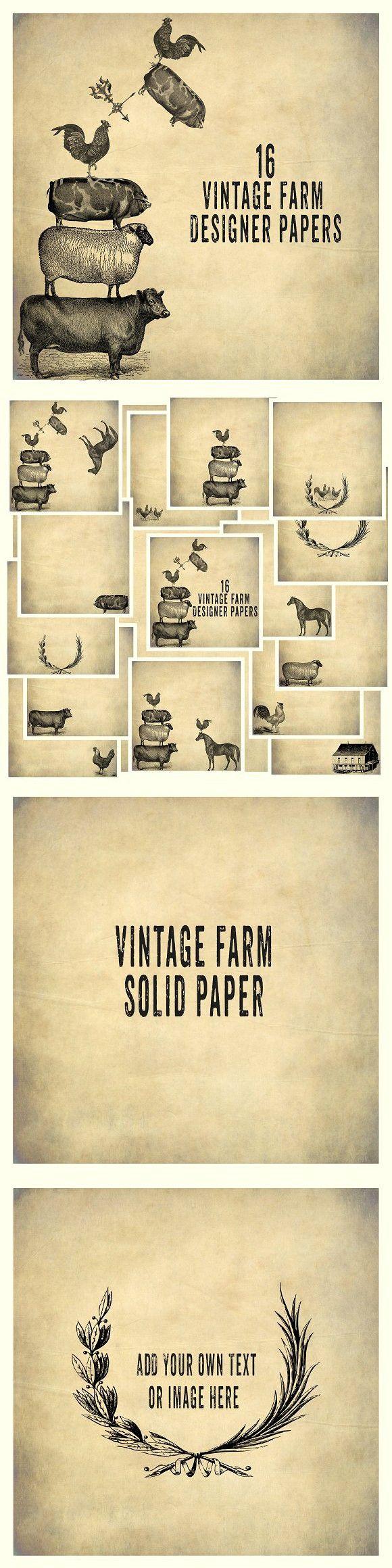 Vintage Farm Background Papers. Patterns