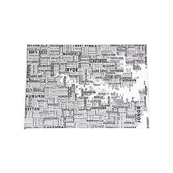 Sydney Text Map Print - ROC Design. (70x50cm)