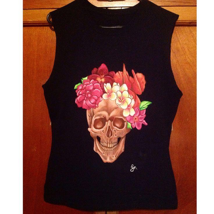 Flowers skull handmade tshirt painted oil