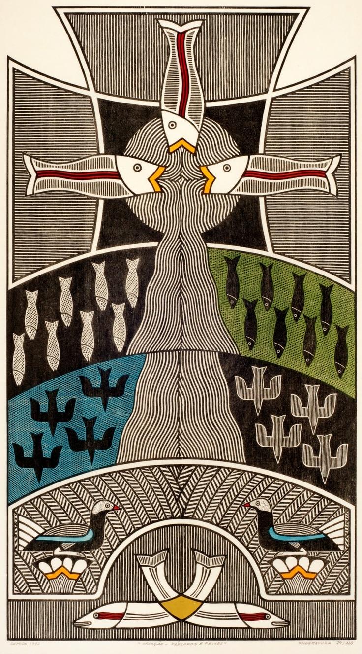 Gilvan José de Meira Lins Samico | Criação - Pássaros e Peixes, 1992 | Xilogravura ed 79/120 | 90,5 x 50 cm | Foto: João Liberato.
